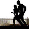 Silhouette of 2 runners.