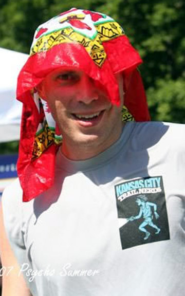 Photo of Steve Meyers with bandana on head at Psycho SUmmer Trail Run.