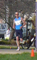 Photo of Jason McCullough, male winner at the Lawrence Half Marathon.