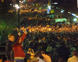 Photo of the celebration on Mass St after the victory.
