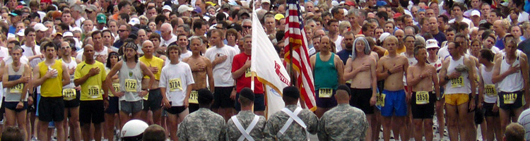 Photo of flag ceremony at start of the Amy Thompson 8K Run.
