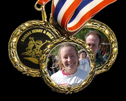 Photo of Molly & Scott McVey in Heart & Sole medals.