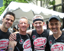 Photo of Keith Dowell and other old guys (age 50+) at the Fight for Air Climb race in Los Angeles.