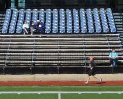 Photo of the Topeka Run for Life 10 Mile - finishing on the Washburn U track.