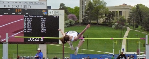 Photo of KU's Liz Beisner in the high jumpo at the KU Relays.
