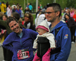 Photo of the Skorupskis at the start of the Mothers Day Run.
