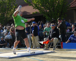 Canadian Dylan Armstrong won the shot put event in downtown Lawrence.
