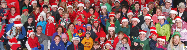 Group photo before the Dec 15, 2012 Jingle Jog through downtown Lawrence.