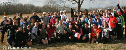 Group photo of everyone at the 2011 Sanders Saunter trail run.