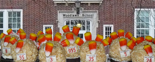 Photo of the candy turkeys with the bib numbers lined up in front of Woodlawn School.