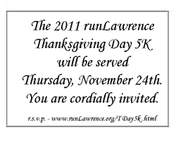 Invitation to the runLawrence Thanksgiving Day Run.