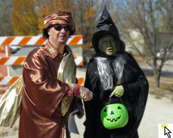 Photo of Qaddafi and witch at the Boo! Run.