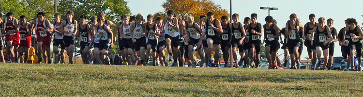 Start of the High School Boys C-Team race at the Haskell cross country invitational on Oct 8th.