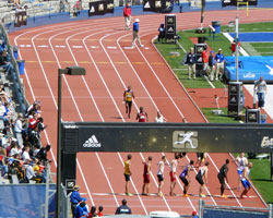 Photo from the KU Relays college men's 2 mile relay.