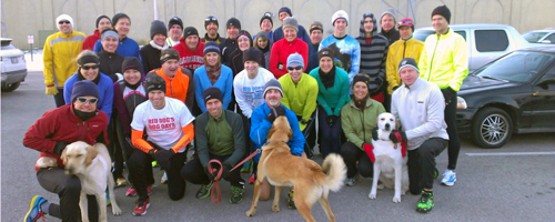 Group photo of Jon King's pre=New year's eve run from Haskell on December 30, 2012.