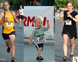 Photo of Scott, Billy and Molly McVey at the Mass Street Mile, July 1, 2012.