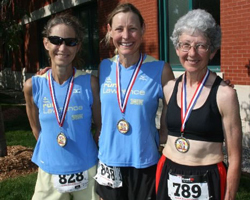 Photo of Karen Hyde, Becky McClure and Dee Boeck at the 2012 Olathe Heart and Sole 5K.
