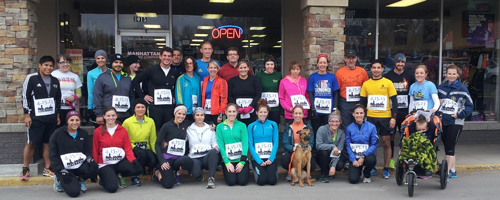 Photo runners at the Manhattan Running Company to remember Boston.