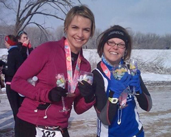 Photo of Julie Loats and LaRisa Chambers-Lochner at the Lawrebnce Sweetheart Run on February 16.