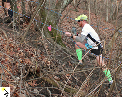 Photo of Trevor Muchow ascending Misery Ridge at the February 9, 2013 Psycho Wyco Trail Races.