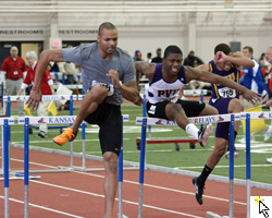 Photo of the men's 60 meter hurdles at the January 5 Bill Easton Classic.