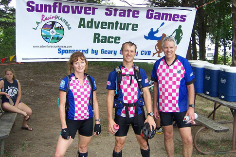 Photo of the Orienteer Kansas team - winners in the coed team Sunflower State Games Adventure Race.