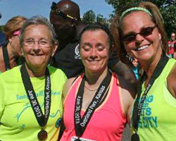 Photo of Ellen Young, Kristina Selters, & LaRisa CHambers-Lochner at the Double Road Race.