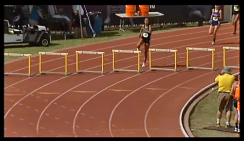 Alexa Harmon-Thomas' 300m hurdle race.