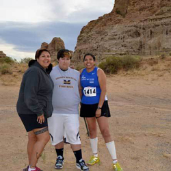 Photograph: Rhonda Levaldo, on right, with her sister Earleen Warrior and nephew Blade Warrior before they begin their run.