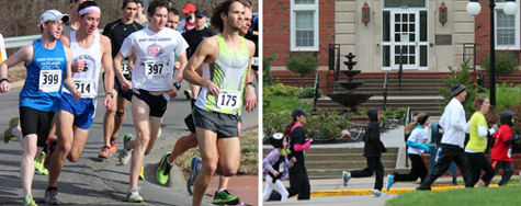 Photo comparing more warmups worn at the May 4th Olathe Heart and Sole Run versus the Jan 19th Topeka Half Marathon.