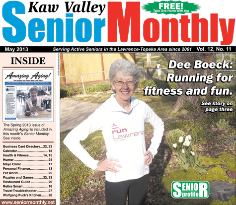 Dee Boeck on the cover of the Kaw Valley Senior Monthly.