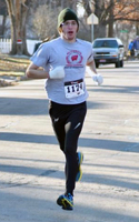 Roy Wedge,  1st overall male at the runLawrence Thanksgiving Day 5K.