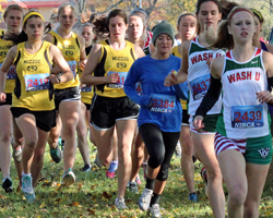 Photo of the women's 5K at the Gulf States NIRCA Cross Country Regionals at Haskell, Nov 2nd.