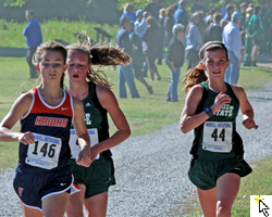 Photo of the high school girls varsity 4K at the Haskell Invitational on October 12, 2013.