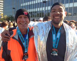 Photo of Dan Kuhlman and Jason Holbert at the Kansas City Half Marathon, October 19.