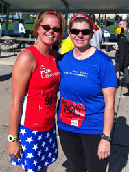 Photo of LaRisa Chambers-Lochner and Brenda Harrinton at the Amry 10 Mile in Washington DC.