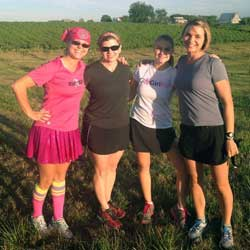 Photo of LaRisa Chambers Lochner, Brenda Harrington, Louise Loats and Julie Loats at the Winey Bi%#h Cross Country 5K.