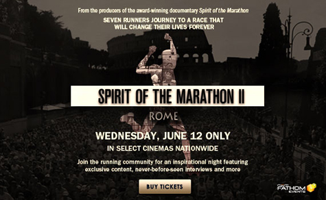Ad for Movie: Spirit of the Marathon 2 on June 12th.