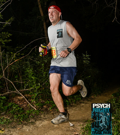 Photo of Greg Burger at the Trail Nerds' Psych Night Trail Run.