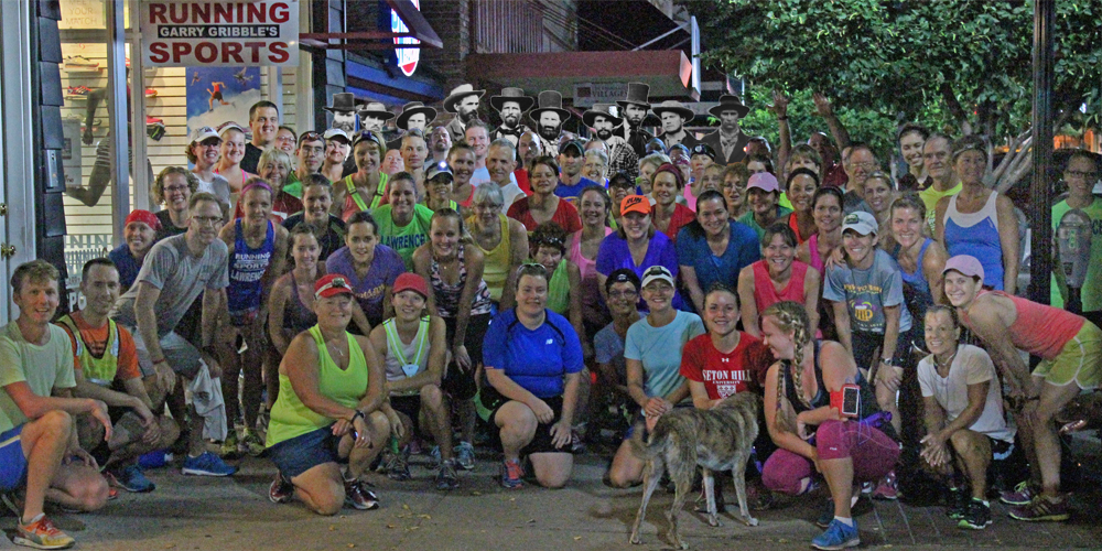 Group photo of runners at the Defend Lawrence Fun Run.
