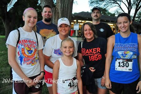 Photo of the Fewins and Wellmans at the Horsethief Run in Eudora.