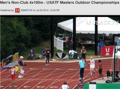 Video or 100m Relay  at the USATF Masters Champs.