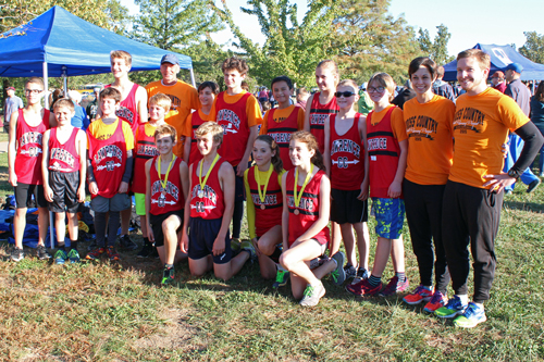 Photo of the runLawrence Middle School cross country team.
