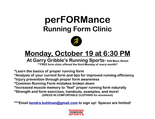 Poster for the GGRS Running Form Clinic.