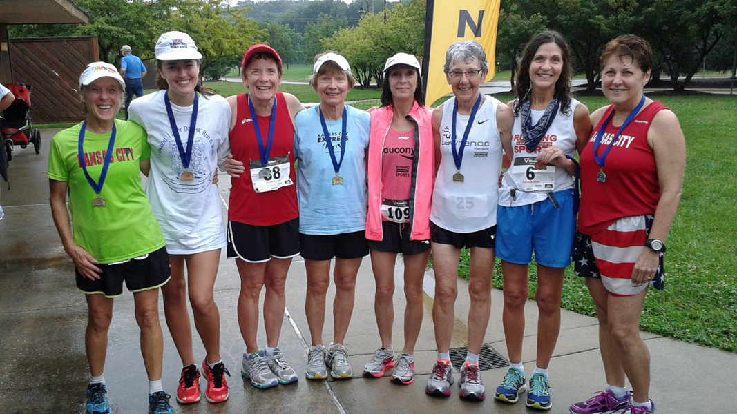 Photo of medal winners at the Leawood Labor Day 5K.