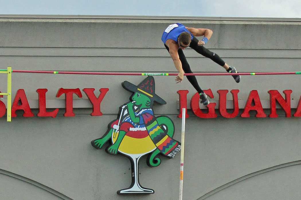 Pole vaulting at Salty Iguana.