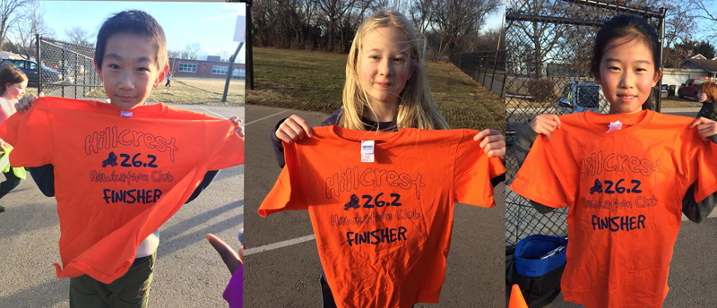 Photo of Hillcrest students who have earned their marathon club T-shirts.
