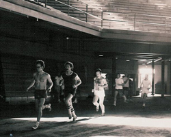 Photo from Dec 1973 of Mad Do workout in Allen Fieldhouse