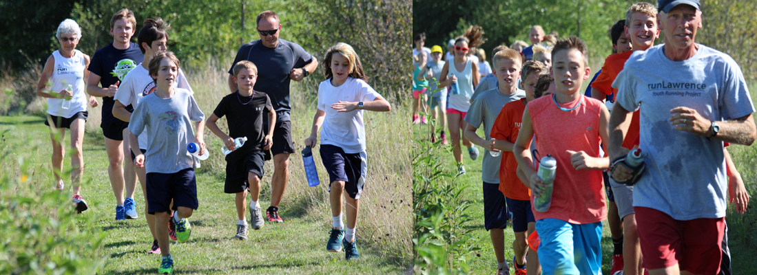 Photo of the first workout of the Middle School Cross Country program sponsored by runLawrence.